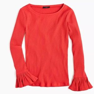 NWT J. Crew Ribbed Bell- Sleeve Top Size XL